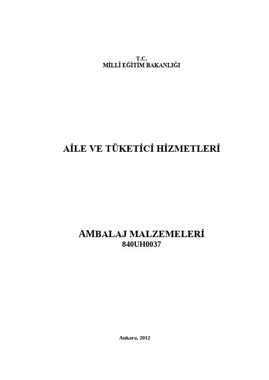 Ambalaj Malzemeleri (aile Tüketici) ders notu pdf