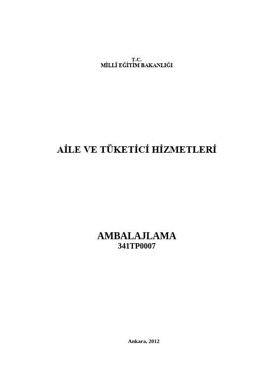 Ambalajlama (aile Tüketici) ders notu pdf