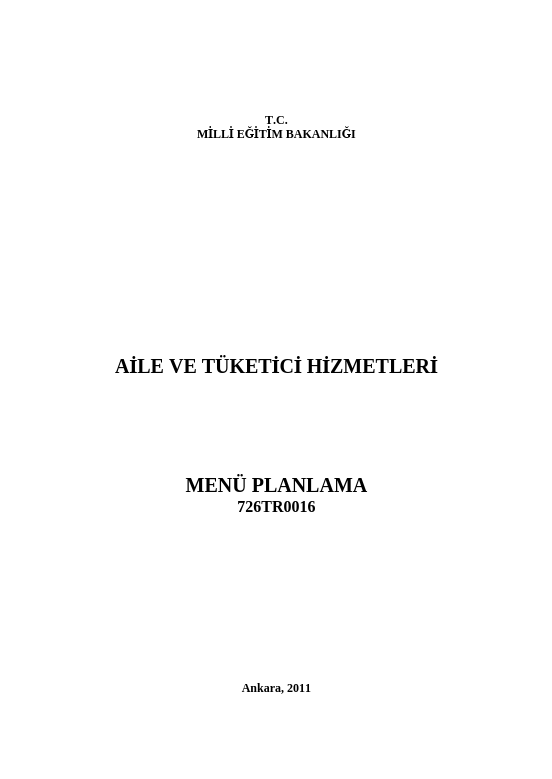 Menü Planlama ders notu pdf