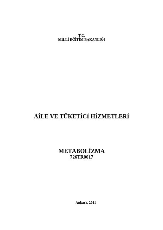 Metabolizma ders notu pdf