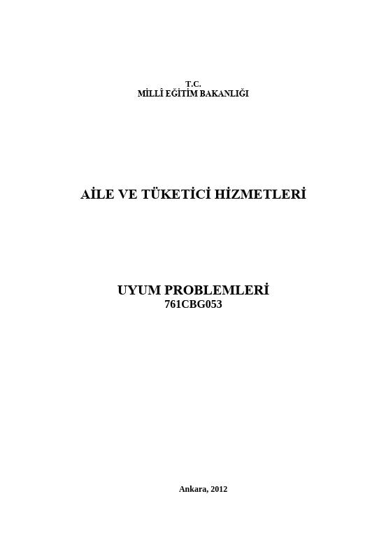 Uyum Problemleri ders notu pdf