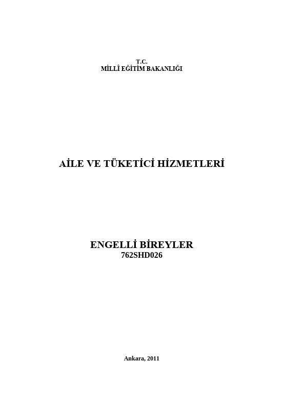 Engelli Bireyler ders notu pdf