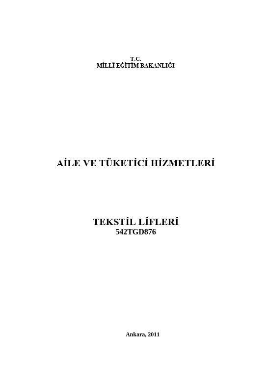 Tekstil Lifleri (aile Tüketici) ders notu pdf