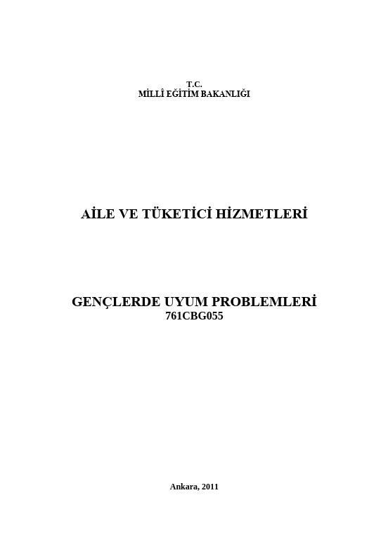 Gençlerde Uyum Problemleri ders notu pdf
