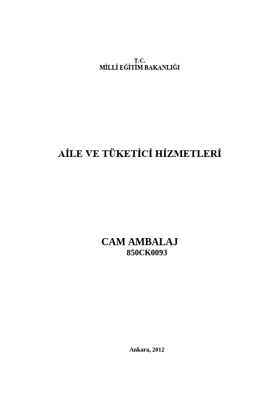 Cam Ambalaj ders notu pdf