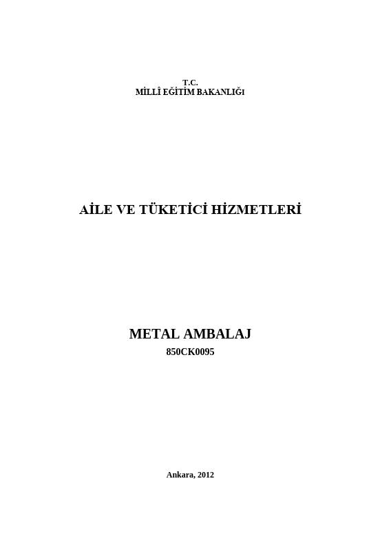 Metal Ambalaj ders notu pdf