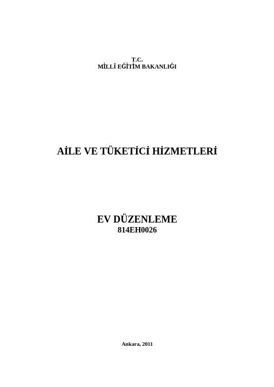 Ev Düzenleme ders notu pdf