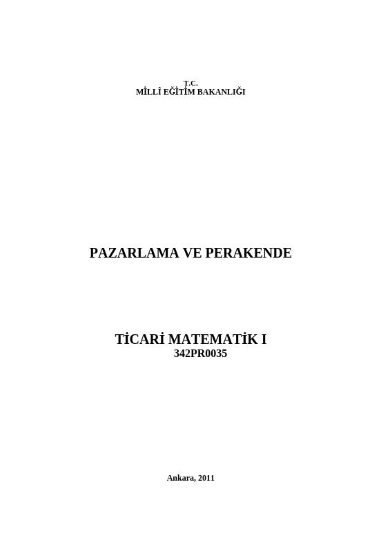 Ticari Matematik 1
