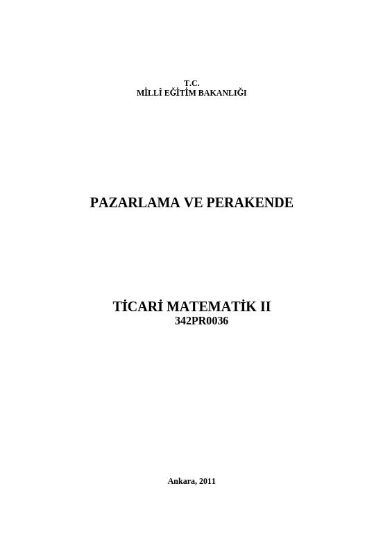 Ticari Matematik 2
