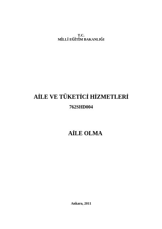 Aile Olma ders notu pdf