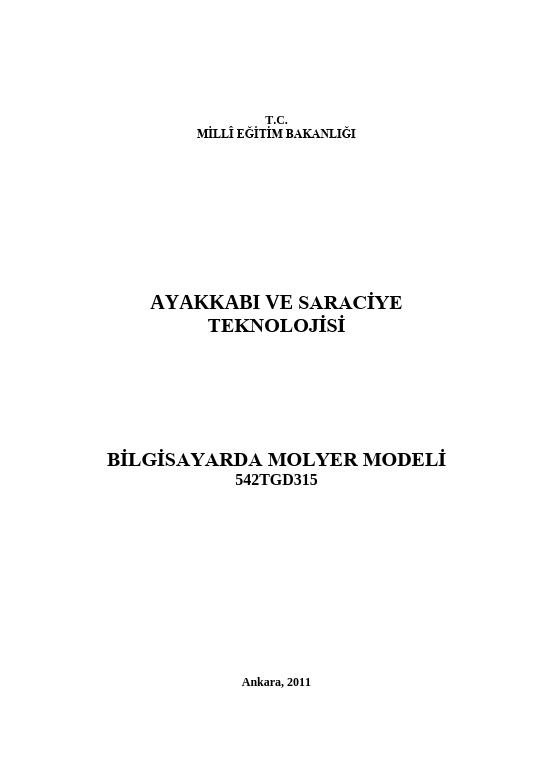Bilgisayarda Molyer Modeli ders notu pdf