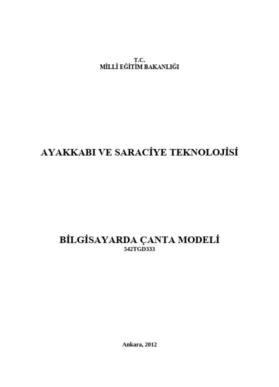 Bilgisayarda Çanta Modeli ders notu pdf