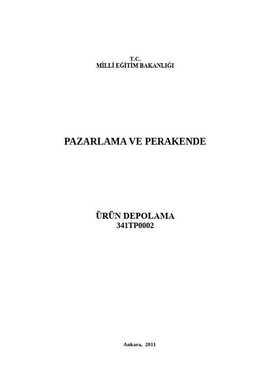 Ürün Depolama ders notu pdf