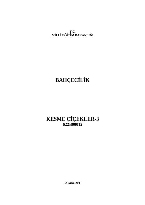 Kesme Çiçekler 3 ders notu pdf