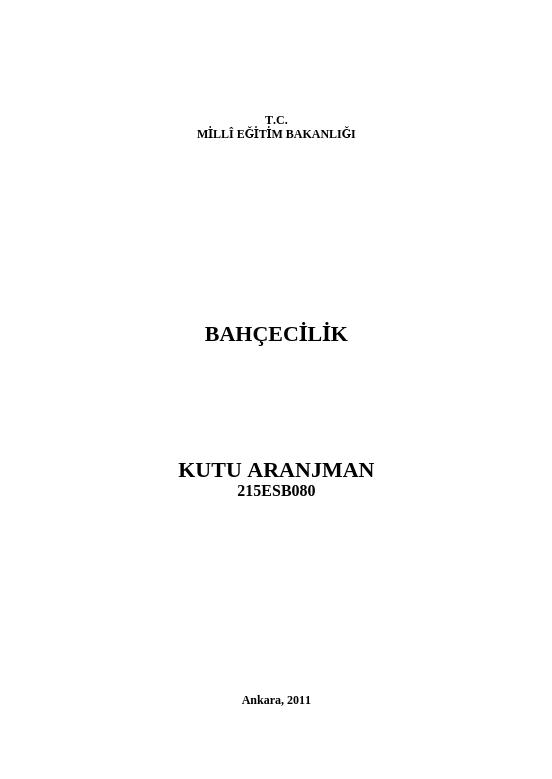 Kutu Aranjman ders notu pdf