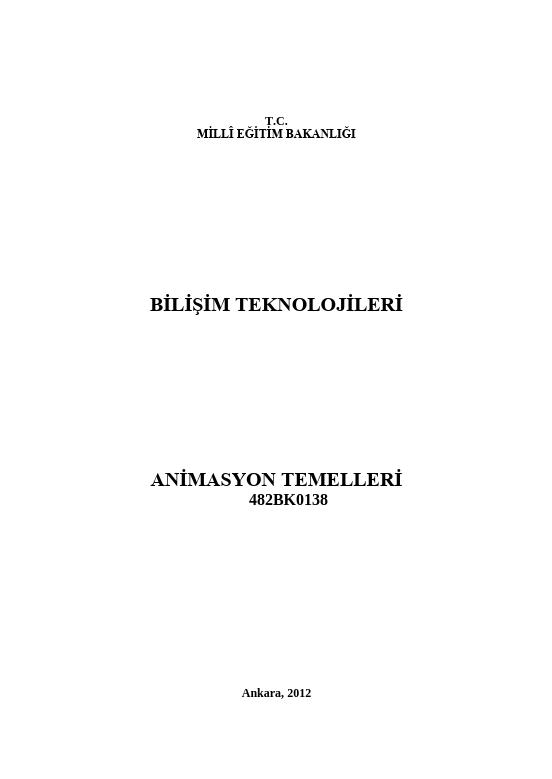 Animasyon Temelleri ders notu pdf