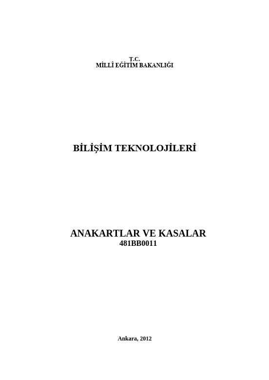 Anakartlar Ve Kasalar ders notu pdf