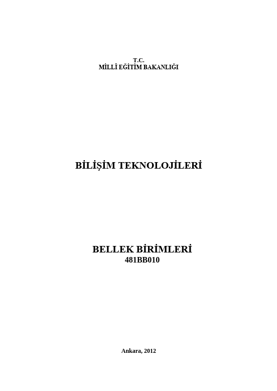 Bellek Birimleri ders notu pdf