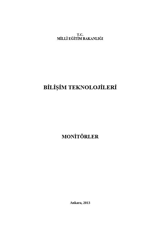 Monitörler ders notu pdf