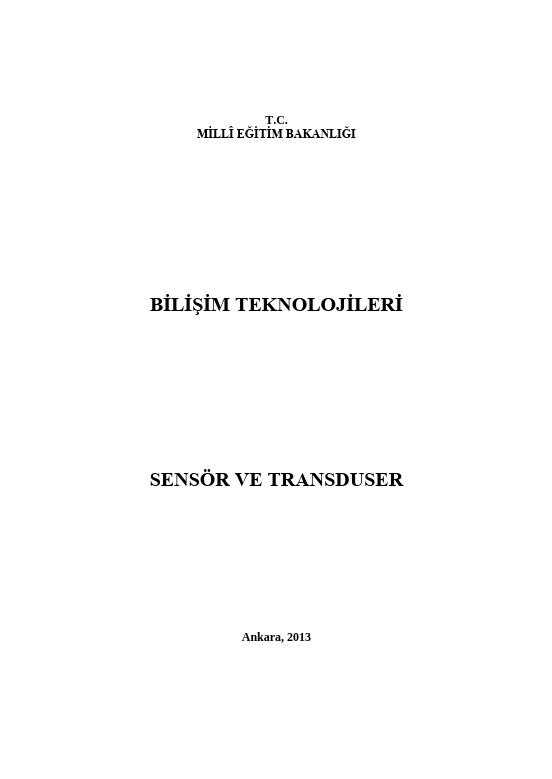 Sensör Ve Transduser