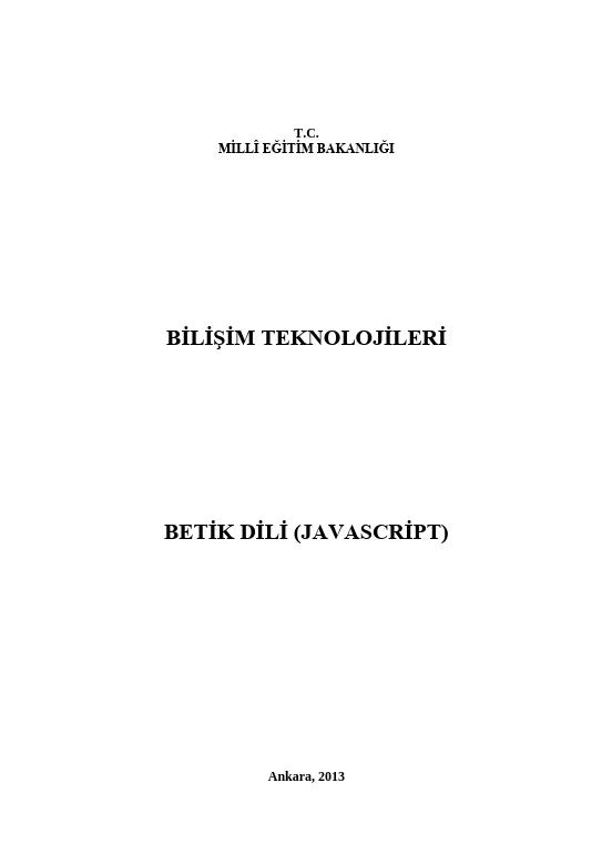 Betik Dili (javascript) ders notu pdf