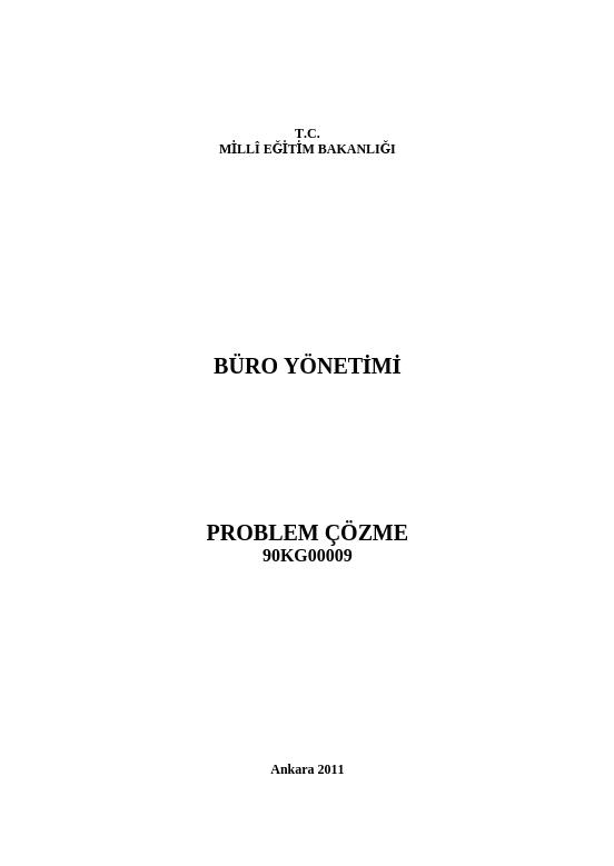 Problem Çözme (Büro Yönetimi)