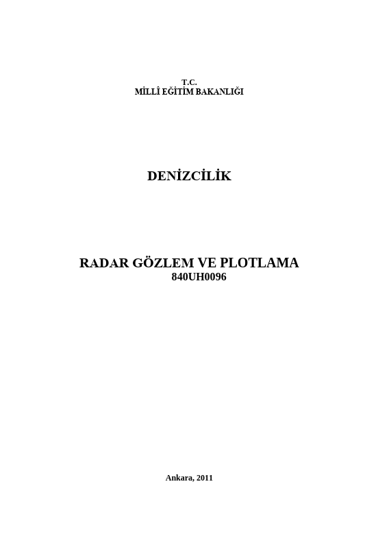 Radar Gözlem Ve Plotlama