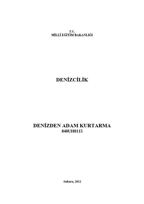 Denizden Adam Kurtarma ders notu pdf