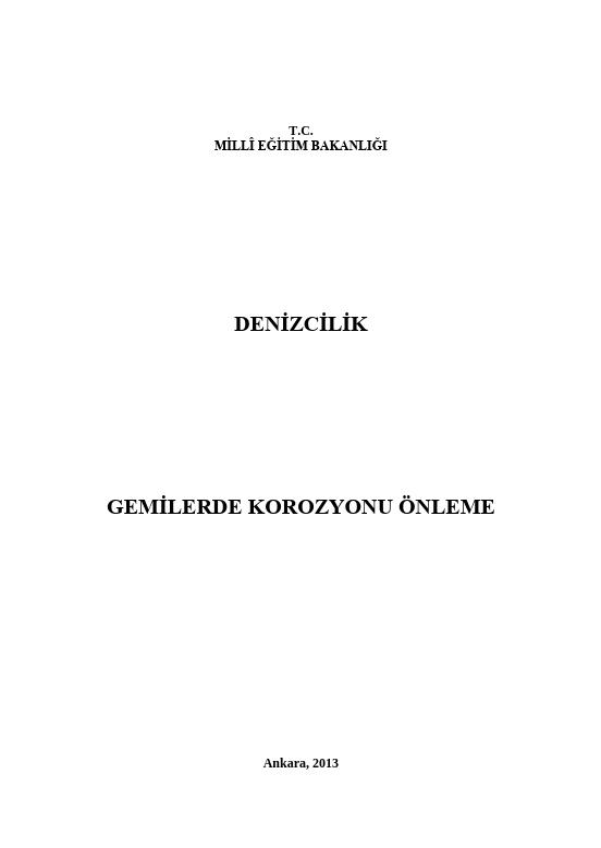 Gemilerde Korozyonu Önleme ders notu pdf