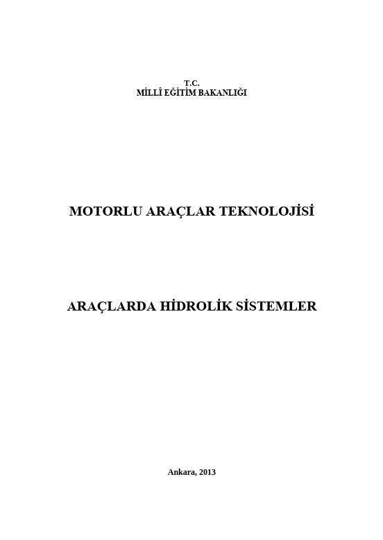 Araçlarda Hidrolik Sistemler ders notu pdf