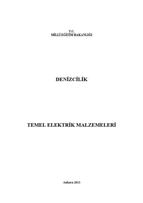 Temel Elektrik Malzemeleri ders notu pdf