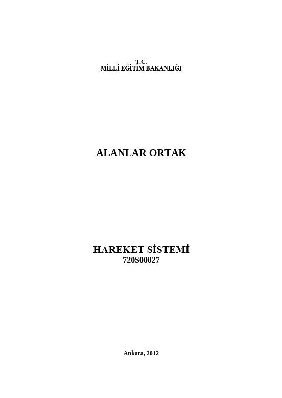 Hareket Sistemi ders notu pdf