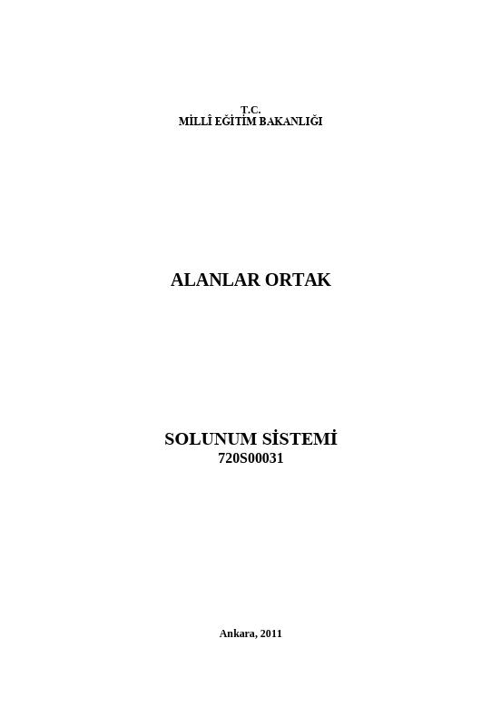 Solunum Sistemi ders notu pdf