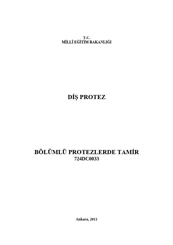 Bölümlü (parsiyel) Protezlerde  Tamir ders notu pdf
