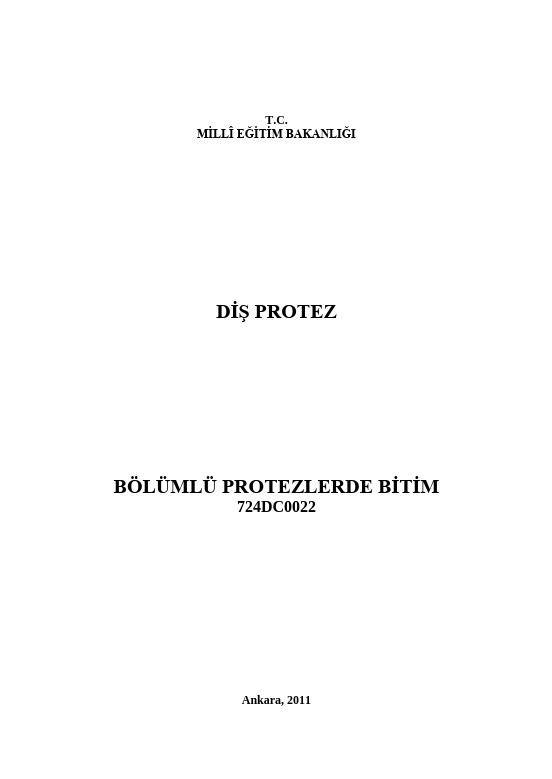 Bölümlü Protezlerde Bitim ders notu pdf