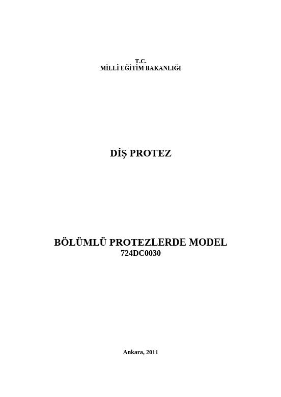 Bölümlü Protezlerde Model ders notu pdf