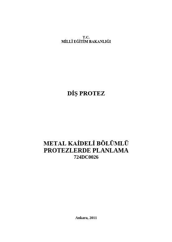 Metal Kaideli Bölümlü Protezlerde Planlama ders notu pdf
