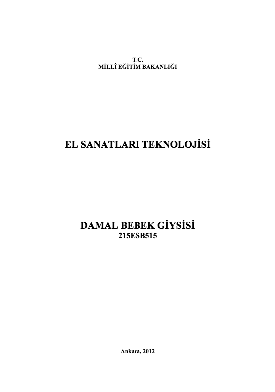 Damal Bebek Giysisi ders notu pdf