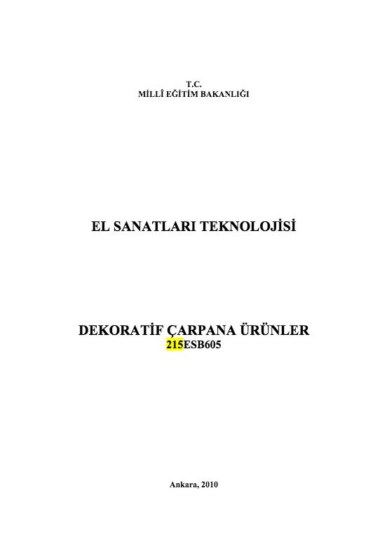 Dekoratif Çarpana Ürünler ders notu pdf