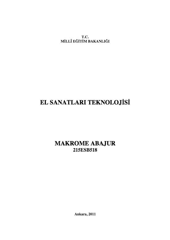 Makrome Abajur ders notu pdf