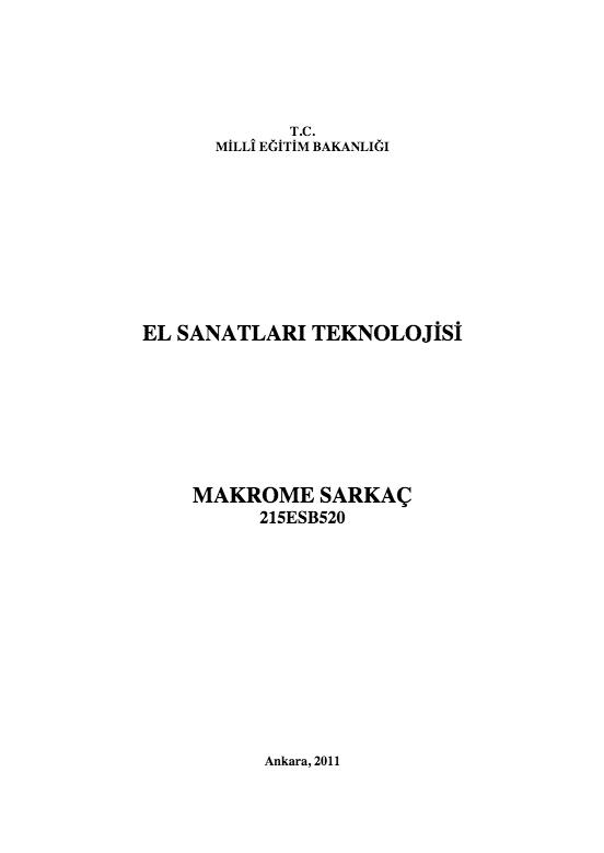 Makrome Sarkaç ders notu pdf