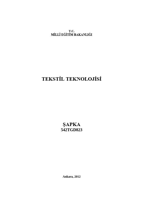 Şapka ders notu pdf