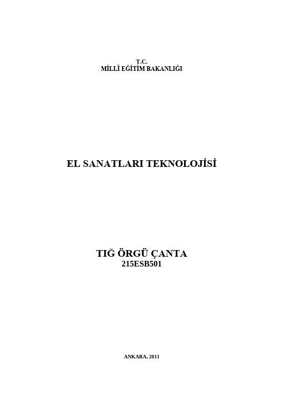 Tığ Örgü Çanta ders notu pdf