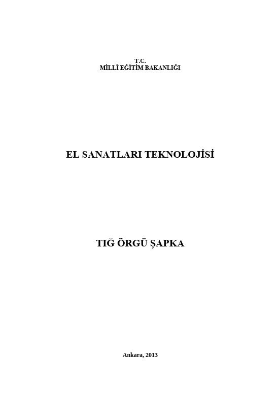 Tığ Örgü Şapka ders notu pdf