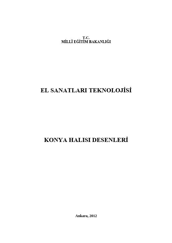 Konya Halısı Desenleri ders notu pdf