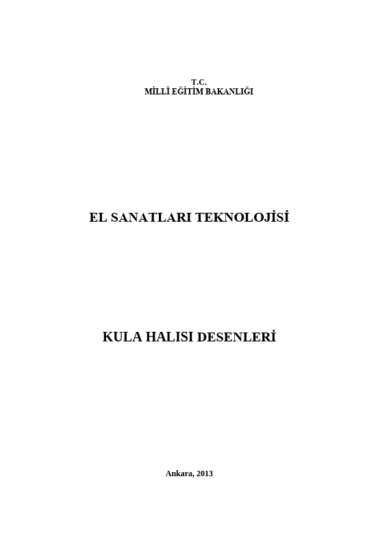 Kula Halısı Desenleri ders notu pdf
