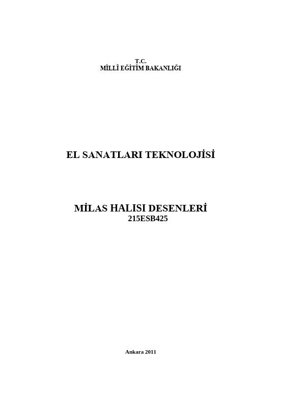 Milas Halısı Desenleri ders notu pdf