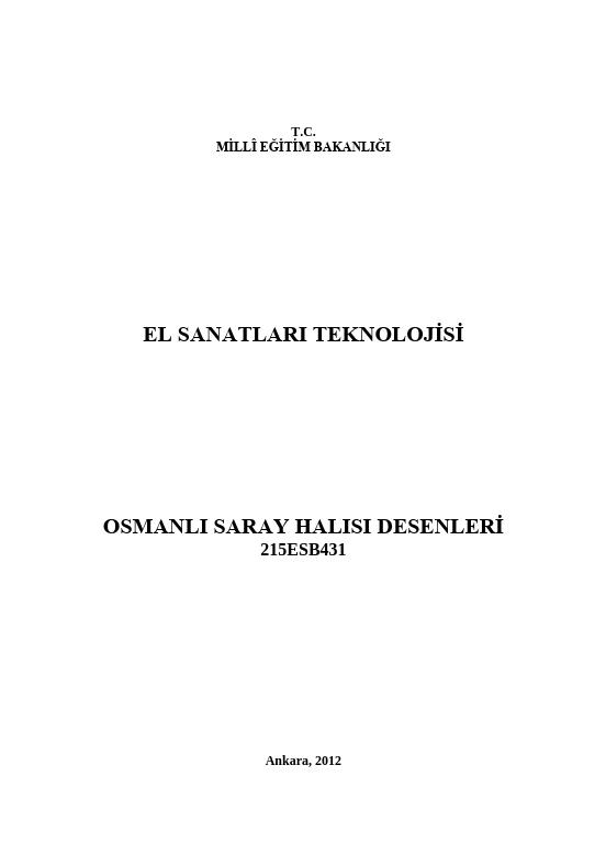 Osmanlı Saray Halısı Desenleri ders notu pdf