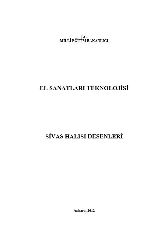 Sivas Halısı Desenleri ders notu pdf