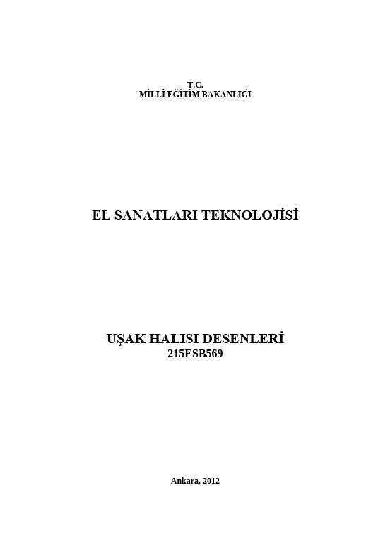 Uşak Halısı Desenleri ders notu pdf